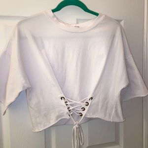 White Crop Top with Corset Detail